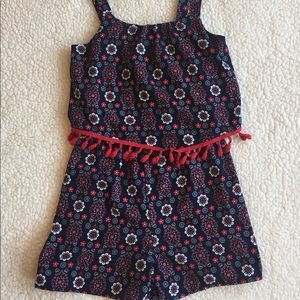 Jenna and Jessie Romper navy  red fringe girl 14